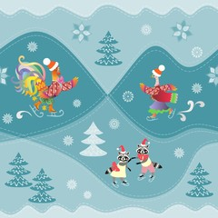 Cute funny raccoons, rooster and duck on skates. Winter seamless pattern. Print for fabric.