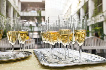 many of the champagne glasses on the table. Soft Focus, Selective Focus