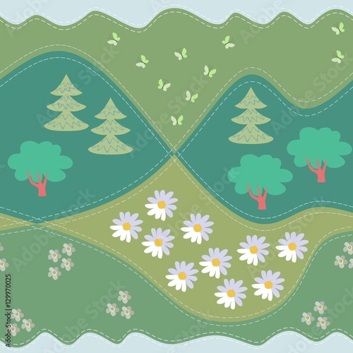 Summer seamless pattern. Print for fabric, paper, wallpaper, wrapping. Vector illustration. Woodland.