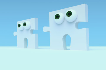 Business Concept: Cartoon Puzzle Pieces With Eyes, 3d illustration