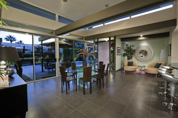 Aluminium Prints Airport Open plan home interior with areas designated for dining and relaxing