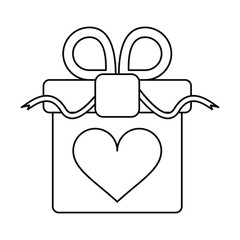 gift box with heart and bow outline vector illustration eps 10