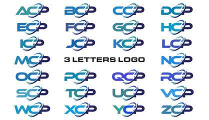 3 letters modern generic swoosh logo ACP, BCP, CCP, DCP, ECP, FCP, GCP, HCP, ICP, JCP, KCP, LCP, MCP, NCP, OCP, PCP, QCP, RCP, SCP, TCP, UCP, VCP, WCP, XCP, YCP, ZCP