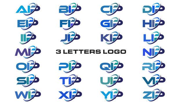 3 letters modern generic swoosh logo AIP, BIP, CIP, DIP, EIP, FIP, GIP, HIP, IIP, JIP, KIP, LIP, MIP, NIP, OIP, PIP, QIP, RIP, SIP, TIP, UIP, VIP, WIP, XIP, YIP, ZIP