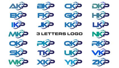 3 letters modern generic swoosh logo AKP, BKP, CKP, DKP, EKP, FKP, GKP, HKP, IKP, JKP, KKP, LKP, MKP, NKP, OKP, PKP, QKP, RKP, SKP, TKP, UKP, VKP, WKP, XKP, YKP, ZKP