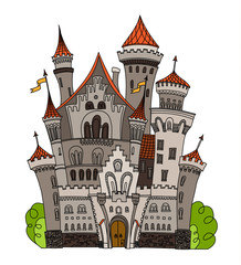Cartoon fairy tale castle tower icon. Cute architecture. Vector illustration fantasy house fairytale medieval . Kingstone stronghold design fable isolated.