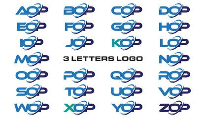 3 letters modern generic swoosh logo AOP, BOP, COP, DOP, EOP, FOP, GOP, HOP, IOP, JOP, KOP, LOP, MOP, NOP, OOP, POP, QOP, ROP, SOP, TOP, UOP, VOP, WOP, XOP, YOP, ZOP