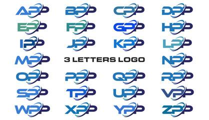 3 letters modern generic swoosh logo APP, BPP, CPP, DPP, EPP, FPP, GPP, HPP, IPP, JPP, KPP, LPP, MPP, NPP, OPP, PPP, QPP, RPP, SPP, TPP, UPP, VPP, WPP, XPP, YPP, ZPP