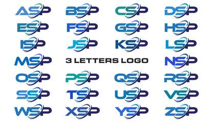 3 letters modern generic swoosh logo ASP, BSP, CSP, DSP, ESP, FSP, GSP, HSP, ISP, JSP, KSP, LSP, MSP, NSP, OSP, PSP, QSP, RSP, SSP, TSP, USP, VSP, WSP, XSP, YSP, ZSP