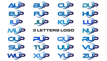 3 letters modern generic swoosh logo AUP, BUP, CUP, DUP, EUP, FUP, GUP, HUP, IUP, JUP, KUP, LUP, MUP, NUP, OUP, PUP, QUP, RUP, SUP, TUP, UUP, VUP, WUP, XUP, YUP, ZUP