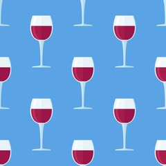 Seamless pattern with glass of red wine on blue background. Vector texture.