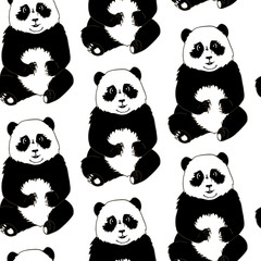 Seamless pattern of Panda-bears