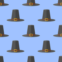 Seamless pattern with pilgrim hat on blue background. Thanksgiving vector texture.