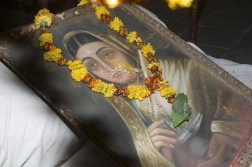 Protrait of one of India's most celebrated 18th centure female rulers, Ahilya Bai Holkar.  Maheshwar, Madhya Pradesh