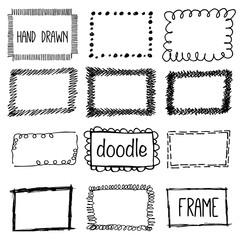 Hand drawn pencil doodle frame. Sketch design concept.  Set of square frames isolated.