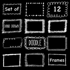 Hand drawn pencil doodle frame. Sketch design concept.  Set of square frames isolated.