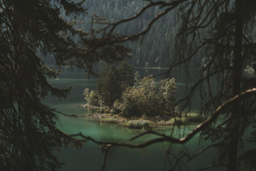 Island with wild trees in a lake surrounded by a mountain forest and framed by branches