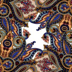 Kaleidoscope paisley seamless vector pattern. Ethnic floral motif, primitive oriental elements. Textile or wallpaper design.