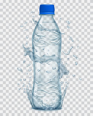 Transparent water splashes in light blue colors around a plastic bottle with mineral water. Transparency only in vector file