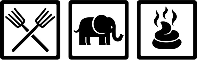 Animal Keeper icons - Forks, Elephant, Shit