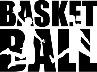 Basketball word with silhouettes