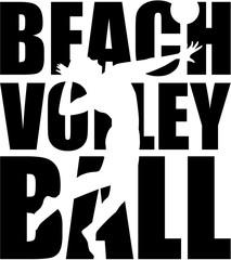 Beachvolleyball with silhouette