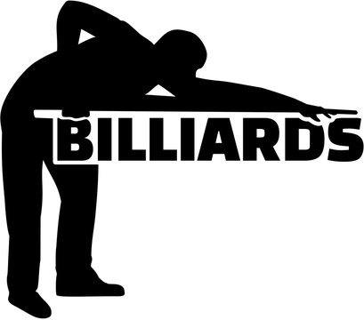 Silhouette pool player with billiards word