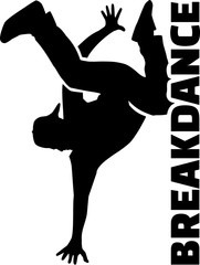 Breakdance silhouette with word