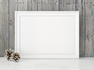 Horizontal interior mock up with snowy pine cones on empty wooden background. 3D rendering.