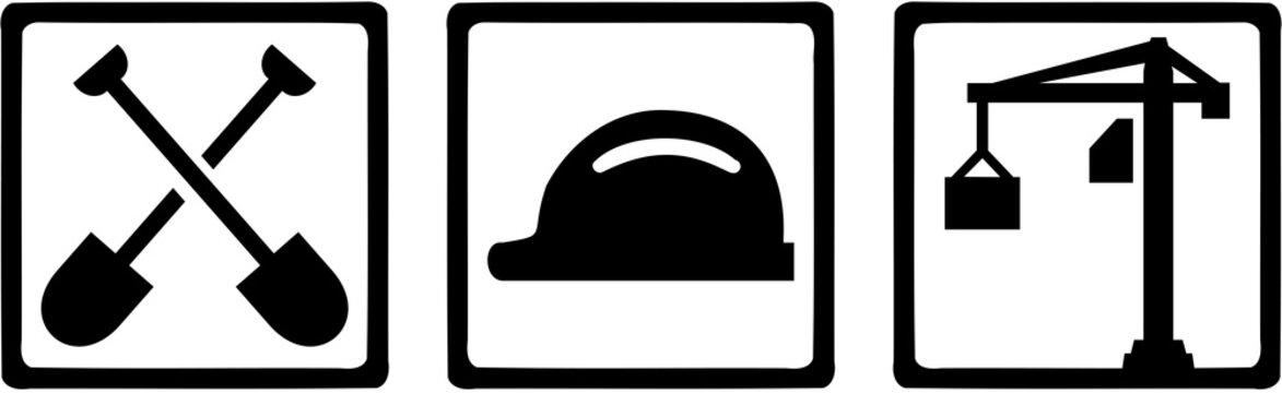 Construction worker icons. Shovels, hard hat, crane.