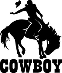 Cowboy rodeo on a horse with cowboy word