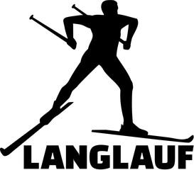 Cross country skiing. German word