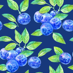 Seamless pattern of a blueberry.Forest berry.Watercolor hand drawn illustration.Dark blue background.