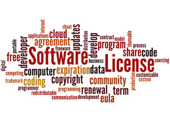 Software License, word cloud concept 4