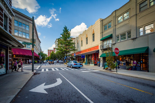 Intersection and buildings in downtown Asheville, North Carolina