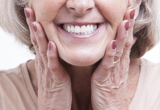 Close up view on senior dentures