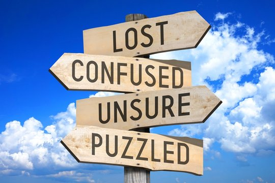 Wooden signpost with four arrows - confused, unsure, puzzled, problem - great for topics like being lost/ confused etc.