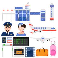 Airport aviation transport vector set.