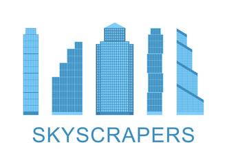 Skyscraper icons. City design elements. Vector illustration.