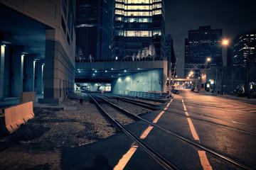 Fototapete - Dark City Train Tunnel at Night.