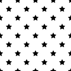 Seamless stars pattern black and white background