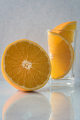 Orange wedges in a dessert and beverage glass