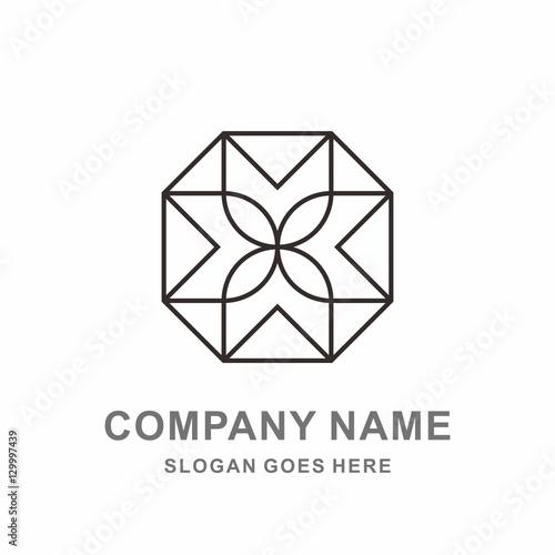 Geometric Square Octagon Cross Flower Pattern Interior Motif Decoration  Business Company Stock Vector Logo Design Template
