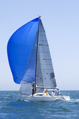 View of a yacht with blue sail competing in team sailing event