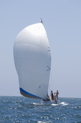 View of a yacht competing in team sailing event