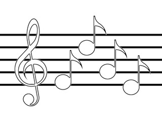 Treble clef, notes and staff on the white background