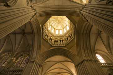 Detail of octagonal lantern tower, Notre Dame cathedral dating from the 14th century, Coutances, Cotentin, Normandy, France, Europe