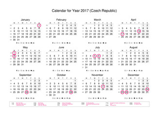 Calendar of year 2017 with public holidays and bank holidays for Czech Republic