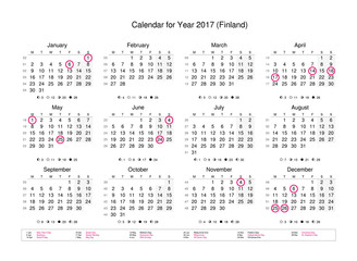 Calendar of year 2017 with public holidays and bank holidays for Finland