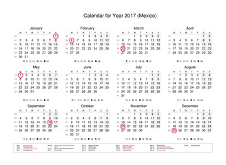 Calendar of year 2017 with public holidays and bank holidays for Mexico